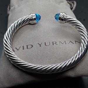 David yurman bracelet 7mm blue topaz and 14k sz M